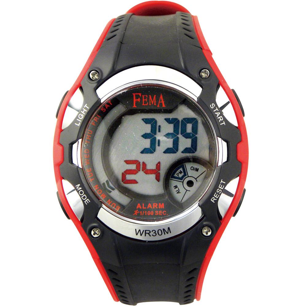 FEMA 粗曠造型 計時鬧鈴 數位運動錶(P332)-黑紅/42mm