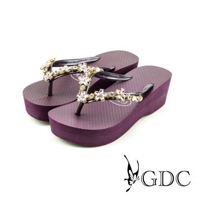 GDC-可愛小花水鑽楔型厚底夾腳人字拖鞋-紫色
