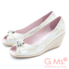 G.Ms. 魚口織帶蝴蝶結蕾絲金線花蔓楔型鞋-時尚白