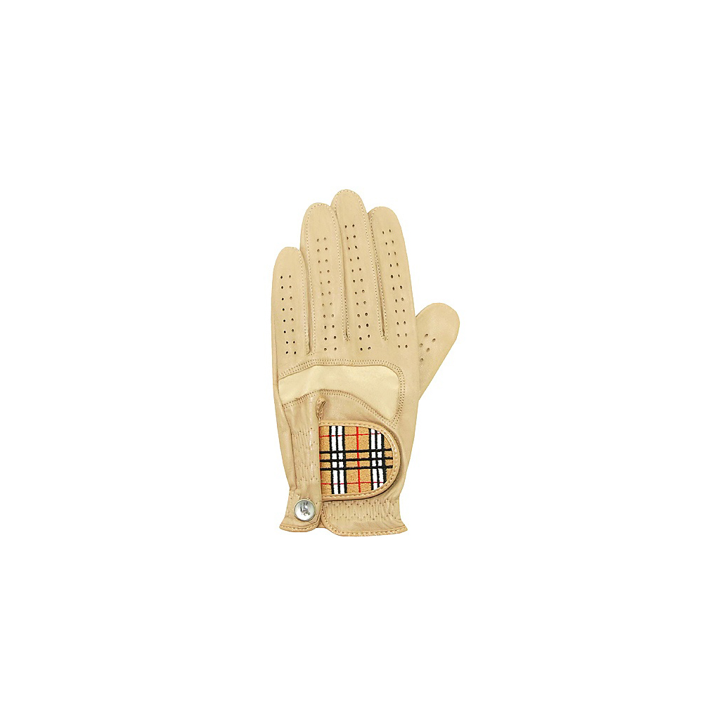 BURBERRY 駝色真皮經典格紋高爾夫球男用手套【S號】