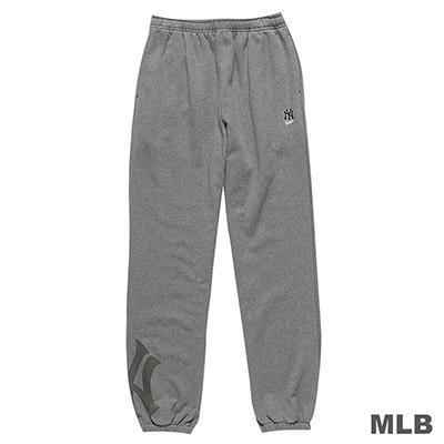 MLB-紐約洋基隊縮口植絨印花厚長褲-深麻灰(男)