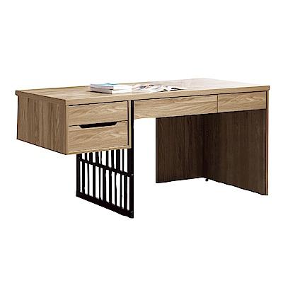 品家居 多莉娜5尺胡桃木紋電腦桌/書桌-151x60x76cm免組