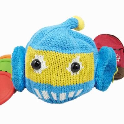 【iSFun】可愛機器人*俏皮毛線護耳帽/四色