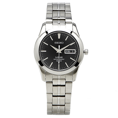 SEIKO 精工極簡黑面腕錶(SGG715P1)-黑/37mm