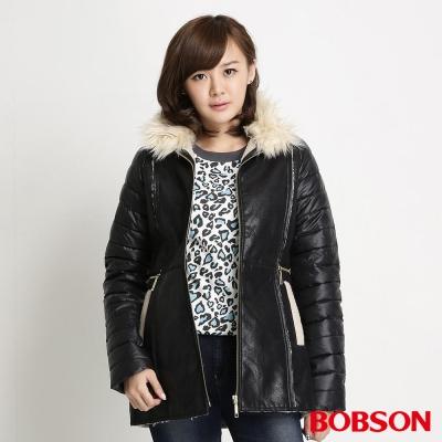 BOBSON 女款麂皮貼合毛絨外套(黑88)