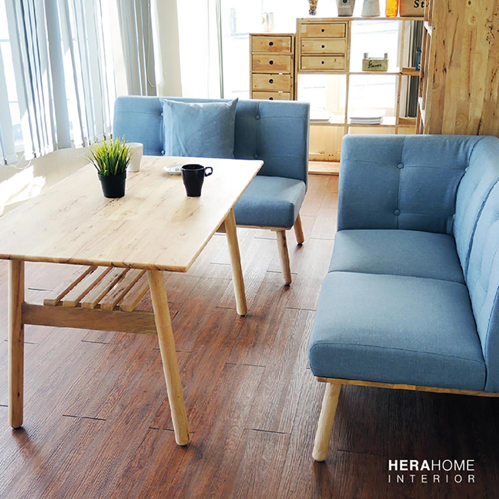 HERA Home Abihu棉麻實木餐椅3件組