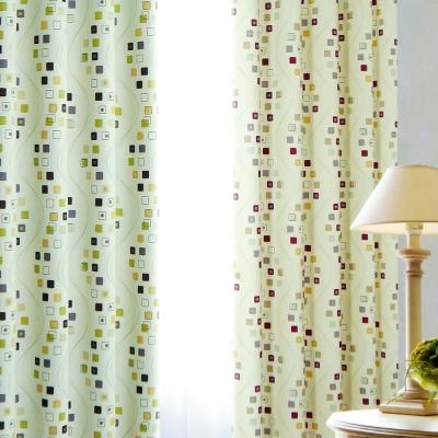 布安於室-小方格單層穿管式遮光窗簾-半腰窗(寬240*高180cm)