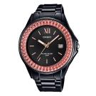 CASIO漾鑽女王簡潔時尚風指針日曆腕錶(LX-500H-1E)黑X橘紅框40.6mm