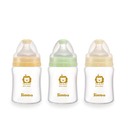 小獅王辛巴 超輕鑽寬口雙凹玻璃小奶瓶3支組(150ml)