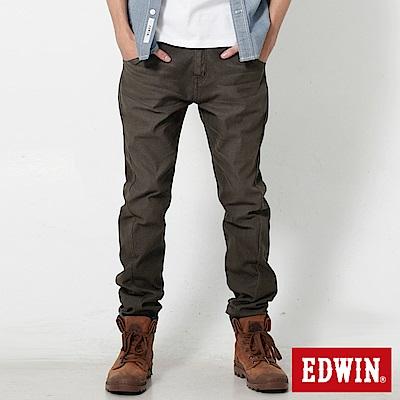 EDWIN 大尺碼迦績褲EF磨毛保溫直筒色褲-男-橄欖綠