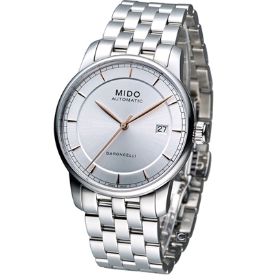 MIDO Baroncelli 永恆系列復刻紳士腕錶-銀白/38mm