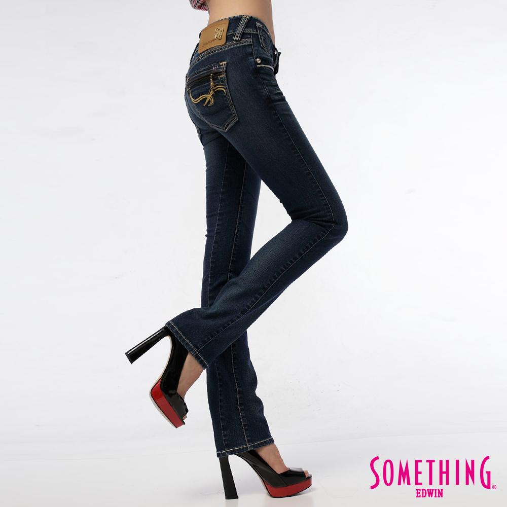 【SOMETHING】純淨香頌 CELEB皮袋唇窄直筒牛仔褲-女款(拔洗藍)