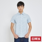 EDWIN 迷彩條紋棕梠襯衫-男-藍色