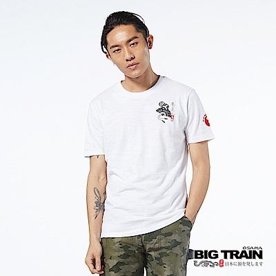 BIG TRAIN 日式小圖騰圓領短袖男T-男-白色