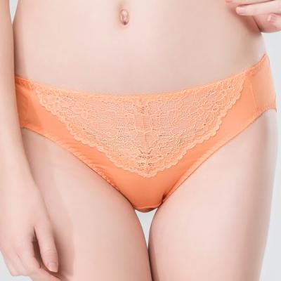 思薇爾 唯美花影系列M-XXL蕾絲中腰三角內褲(珊橘色)