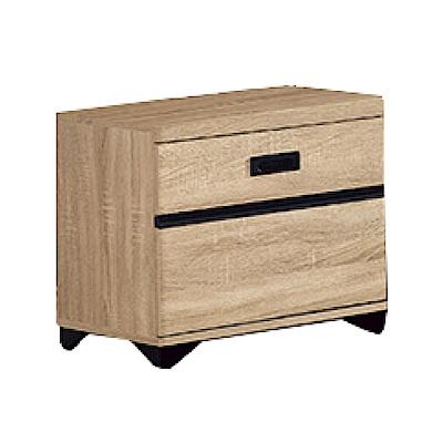 品家居  卡洛兒1.6尺橡木紋二抽床頭櫃-48.4x40.3x48.2cm-免組