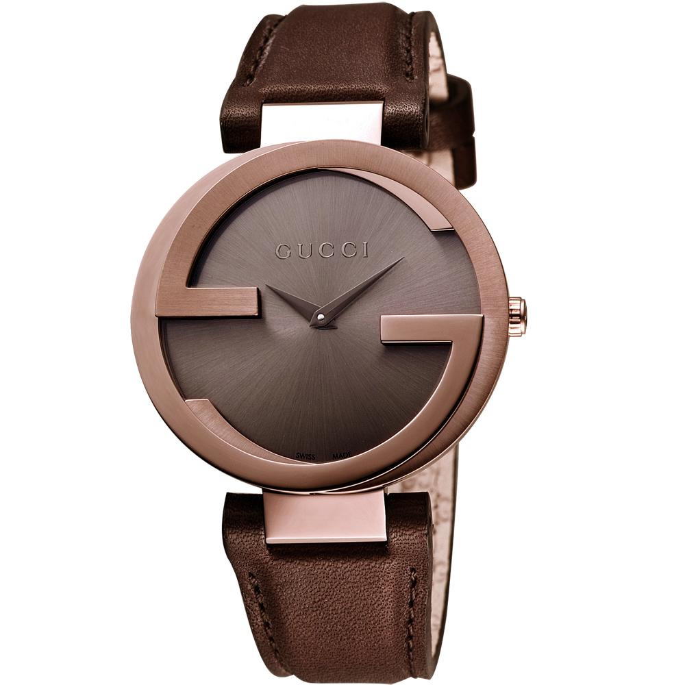 GUCCI 古馳 Interlocking 時尚元素女錶-玫塊金x咖啡/29mm