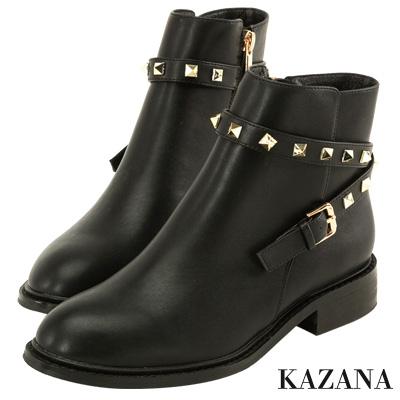 KAZANA-個性金屬鉚釘帶釦短靴 黑