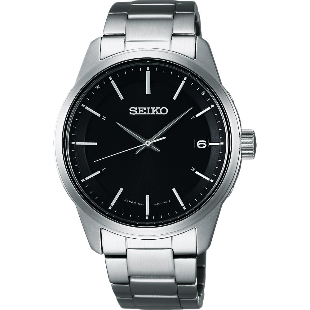 SEIKO SPIRIT 萬年曆太陽能電波腕錶(SBTM233J)-黑/40mm