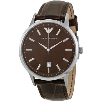 ARMANI 多層次經典復刻咖啡面紳士腕錶-深咖啡/43mm