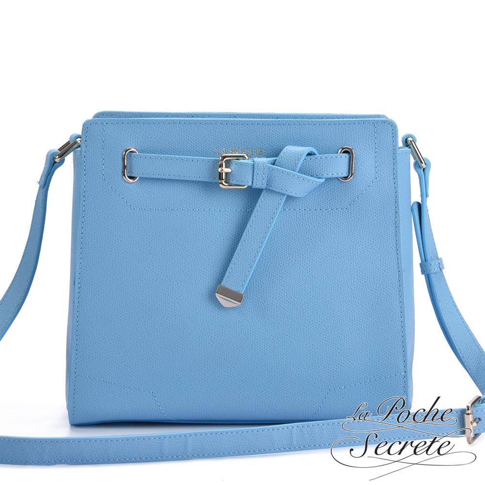 La Poche Secrete真皮 韓系時尚真皮扭結定型側背斜背包 天空藍