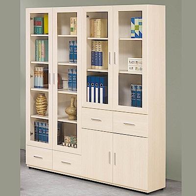 H&D 雪杉白5.2尺書櫥組 (寬159X深32.2X高184.5cm)