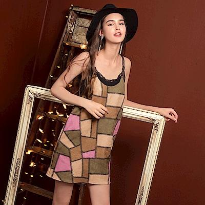 麂皮不規則色塊造型皮革細肩帶洋裝.1色-OB嚴選