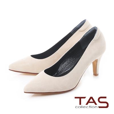 TAS 質感素面羊絨皮尖頭高跟鞋-微醺米