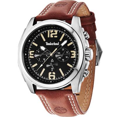 Timberland Houston 時空潮流日曆腕錶-黑x咖啡/47mm