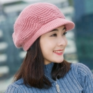 幸福揚邑  雙層保暖護耳小顏針織鴨舌貝蕾帽小臉兔毛線帽-粉紅