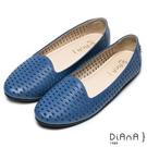 DIANA經典百搭--圓滿引領緣滿真皮鏤空平底娃娃鞋-藍
