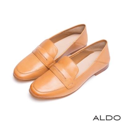 ALDO-原色真皮復古金屬木紋跟樂福鞋-氣質焦糖