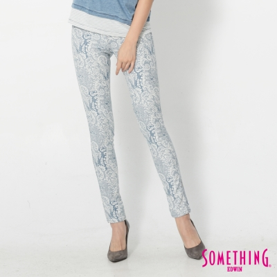 SOMETHING LADIVA變形蟲合身牛仔褲-女-淡藍色