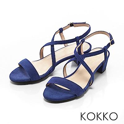 KOKKO-復古女伶交叉線條羊麂皮粗跟涼鞋-丹寧藍