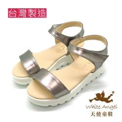 天使童鞋-J830 經典不敗一字厚底涼鞋-典雅銀