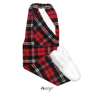 Annys歡樂聖誕格紋白雪造型長褲*1266紅