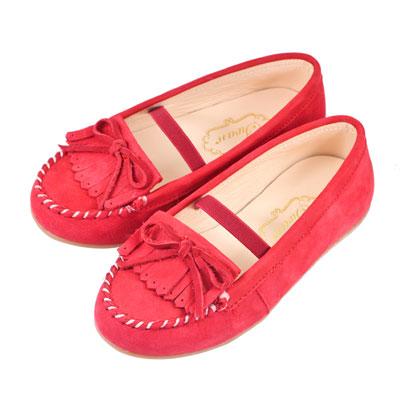 Swan天鵝童鞋-全真皮流蘇莫卡辛皮鞋 3802-紅