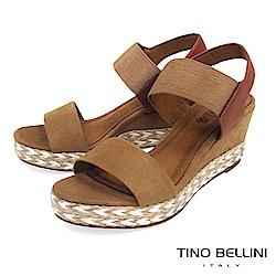 Tino Bellini 混搭異材質跳色麻編楔型涼鞋_ 棕