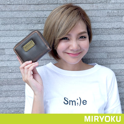 MIRYOKU-經典復古皮革系列 / 個性簡約拉鍊短夾-泥綠