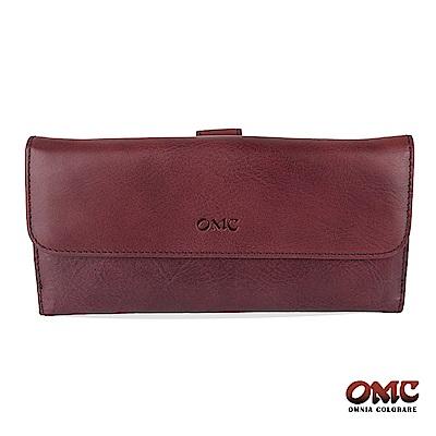 OMC 原皮系列-植鞣牛皮舌片壓扣17卡透明窗多隔層零錢長夾-紫色