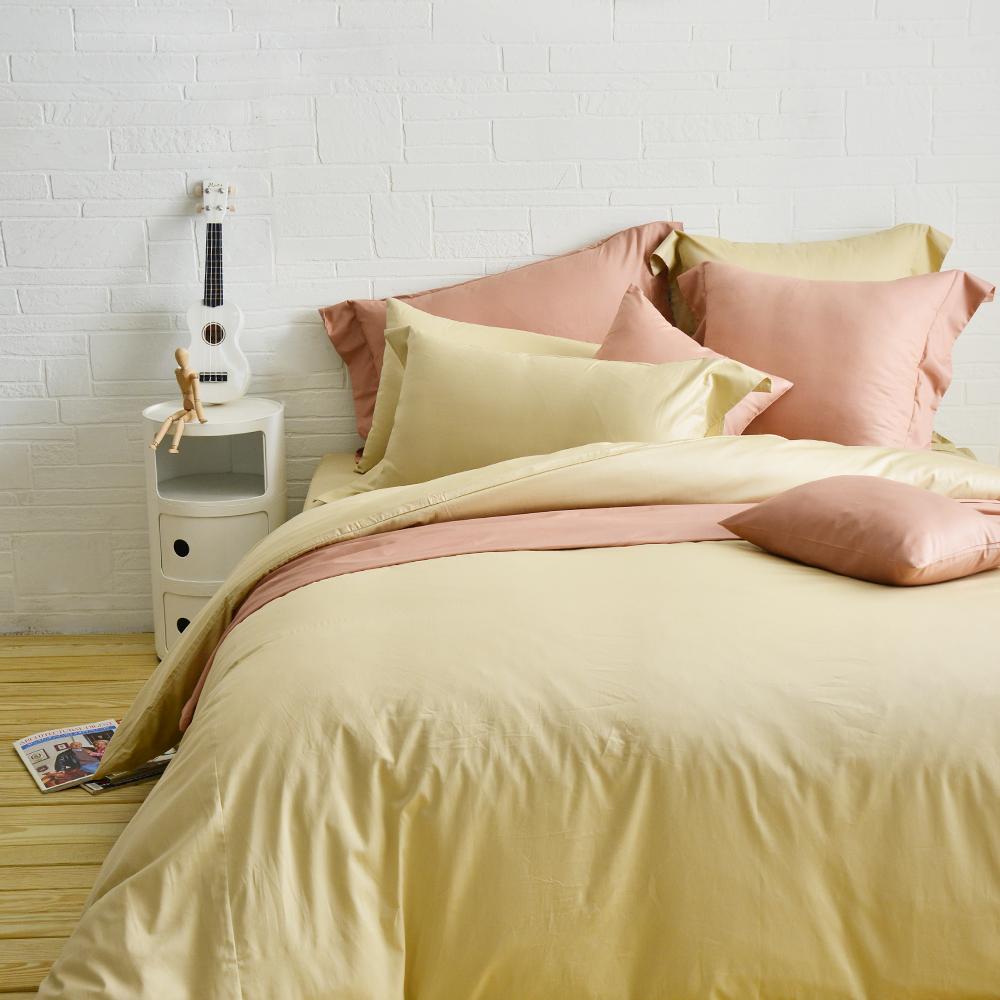 Cozy inn 簡單純色-奶茶金 加大四件組 200織精梳棉薄被套床包組