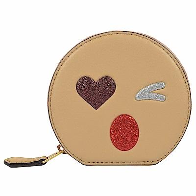 COACH 可愛表情牛皮圓形造型零錢包(米)