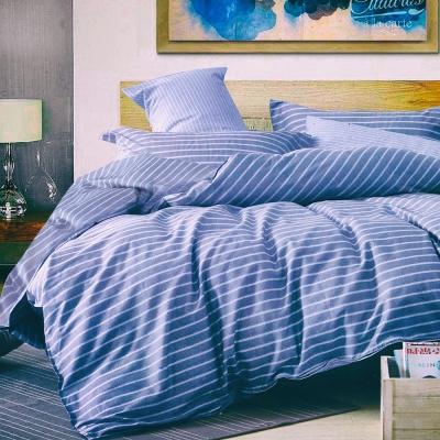 A-one 100%純棉 雙人加大 /床包三件組 梵谷小麥田_藍 含二件枕頭套 台灣製