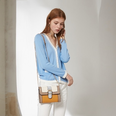 Chaber巧帛 簡約純色滾邊素面好感度UP針織藍外套