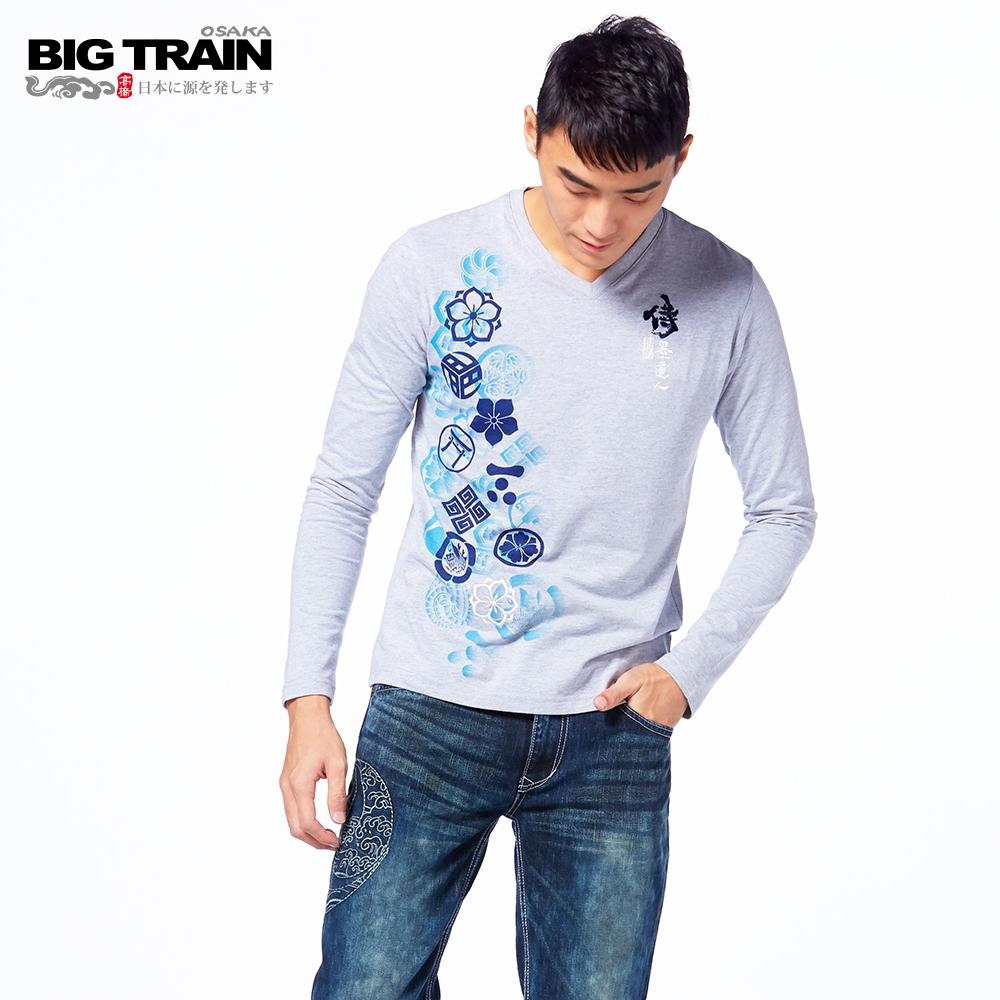 BIG TRAIN 家徽戰魂V領長袖-男-麻灰