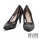 高跟鞋 HELENE SPARK 華麗時尚幻彩晶鑽異材質拼接尖頭高跟鞋-黑