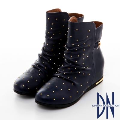 DN 潮流魅力 真皮打造金屬鉚釘內增高中筒靴 藍