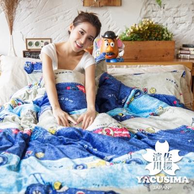 濱川佐櫻-賽車派對 雙人四件式嚴選特厚法蘭絨兩用毯被床包組