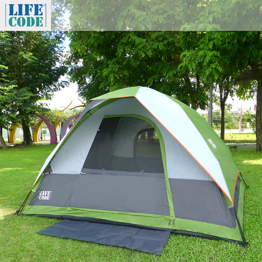 LIFECODE《立可搭》豪華5-6人雙層速搭帳篷-高183cm (萊姆綠)