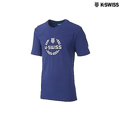 K-Swiss Laurel Crown Tee印花短袖T恤-男-藍